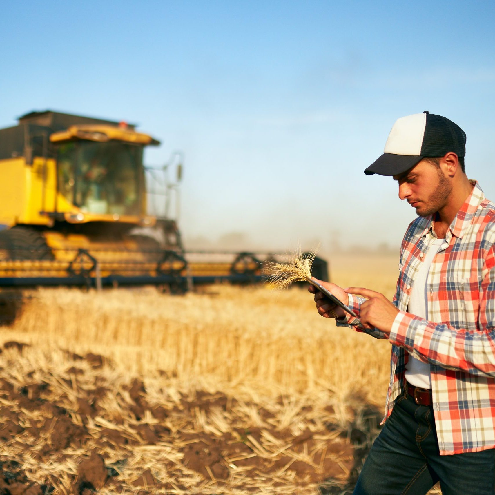 Precision farming. Farmer holding tablet for combine harvester guidance, control with modern automation system. Agronomist using online data management software generating yield maps at wheat field